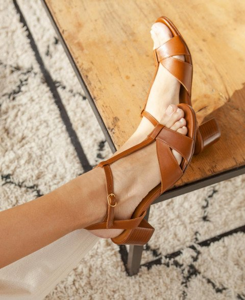 Sandals n°452 Cognac
