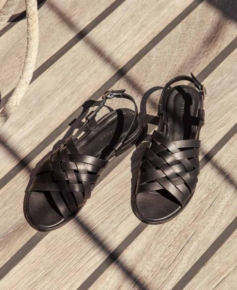 Sandales n°63 Cuir Noir | Rivecour