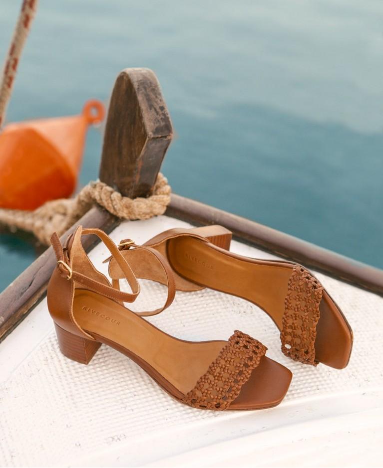 Sandals n°890 Cognac Leather | Rivecour