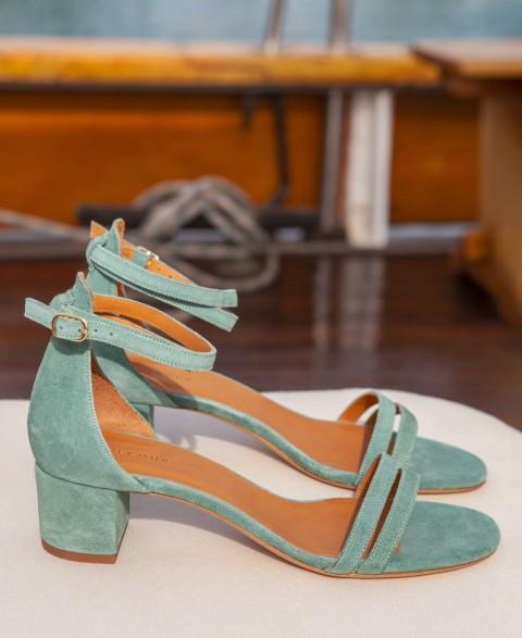 Sandals n°466 Suede Vert D'Eau | Rivecour
