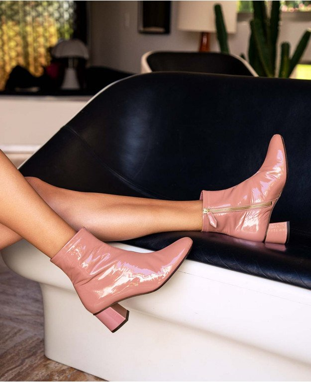 Boots n°401 Blush Patent Leather| Rivecour