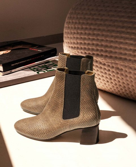 Boots n°402 Muscade Python Leather  Rivecour