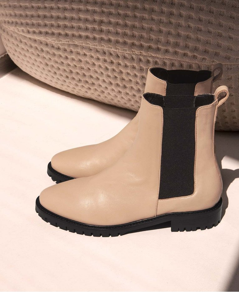 Boots n°500 Cream Leather | Rivecour