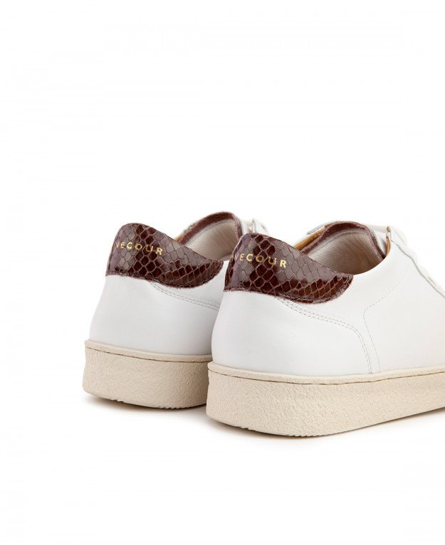 Sneakers n°14 White / Brown   Rivecour