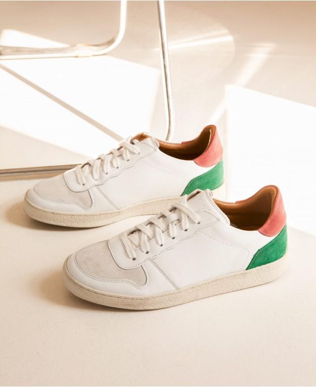 Baskets n°12 Cuir Blanc/Blush/Vert | Rivecour