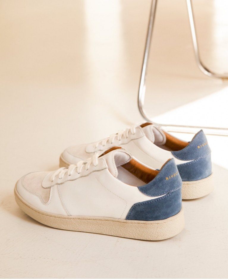 Sneakers n°12 White/Blue/Blue| Rivecour