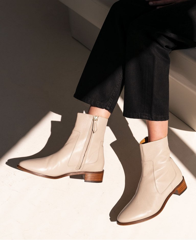Boots n°67 Cream Leather| Rivecour