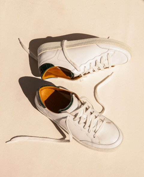 Sneakers n°14 White/Green Croco| Rivecour