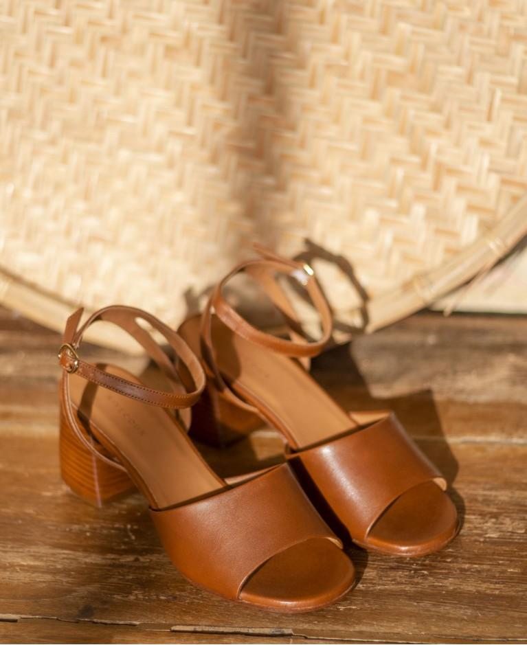 Sandals n°889 Cognac Leather| Rivecour