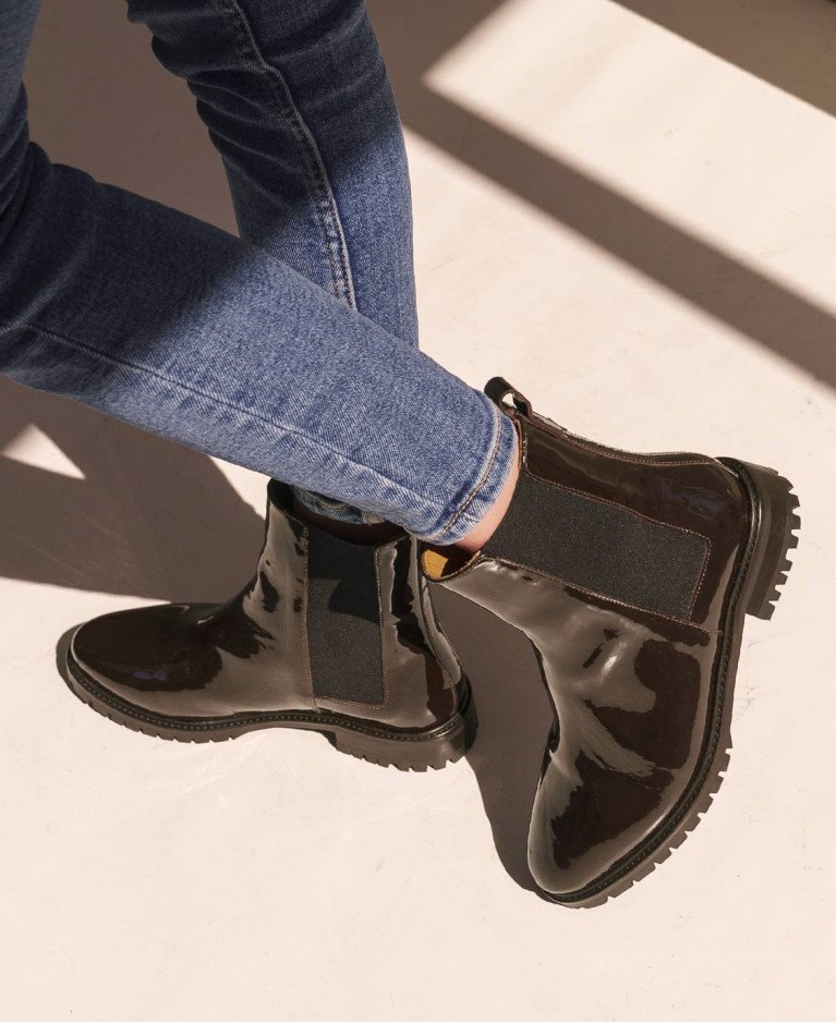 Boots n°500 Brown Patent Leather | Rivecour