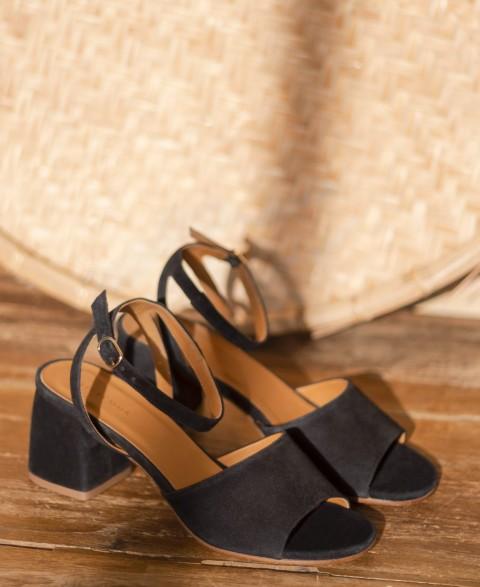 Sandales n°889 Suede Noir | Rivecour
