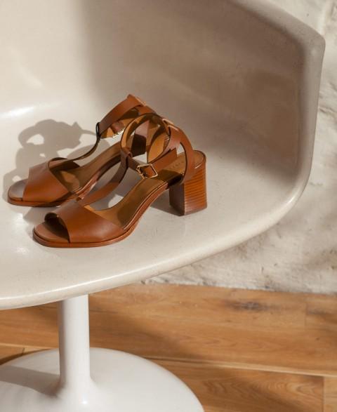 Sandals n°651 Cognac
