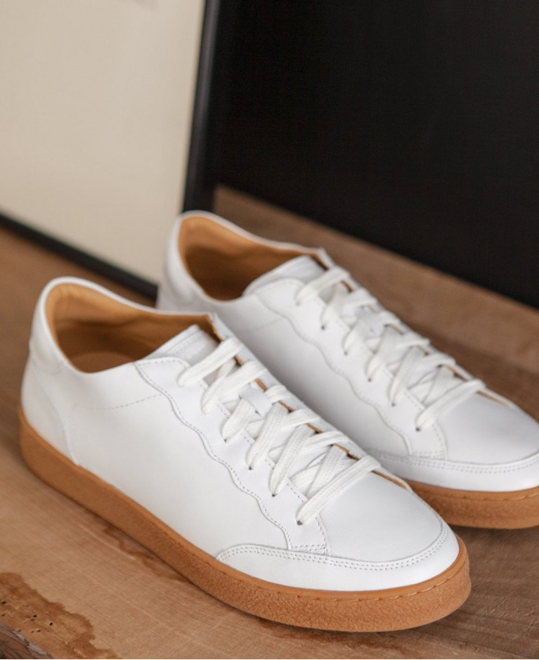 Sneakers n°14 White/Honey Sole| Rivecour