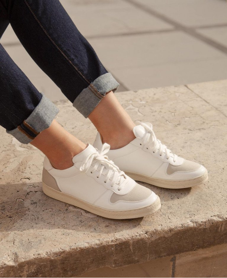 Sneakers n°12 White Vegan synthetic fibers| Rivecour