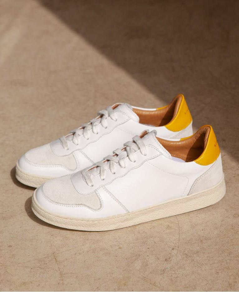 Baskets n°12 Cuir Blanc/Jaune | Rivecour