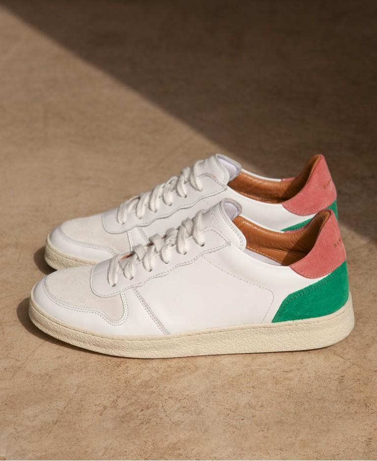 Sneakers n°12 White/Blush/Green  Rivecour