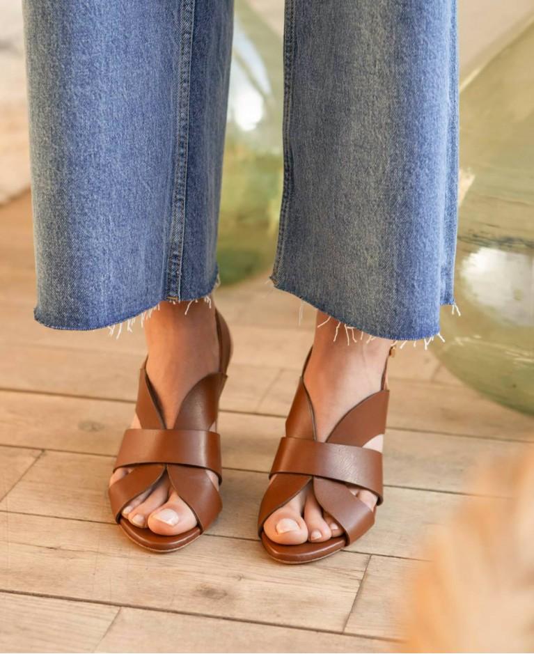 Sandals n°55 Cognac Leather | Rivecour