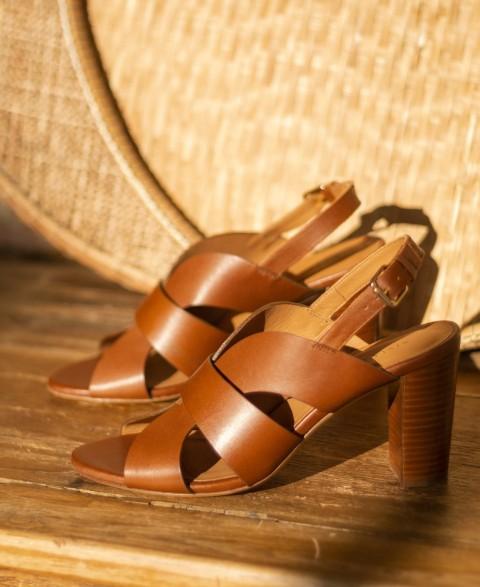 Sandales n°55 Cuir Cognac | Rivecour
