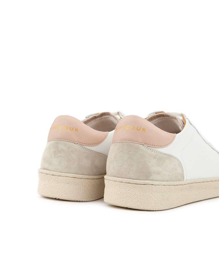 Sneakers n°14 White/Nude Leather| Rivecour