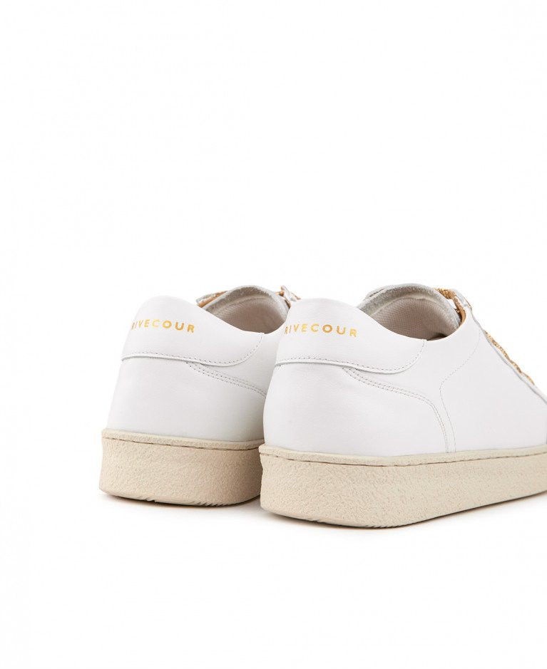 Sneakers n°14 White/Gold Laces| Rivecour