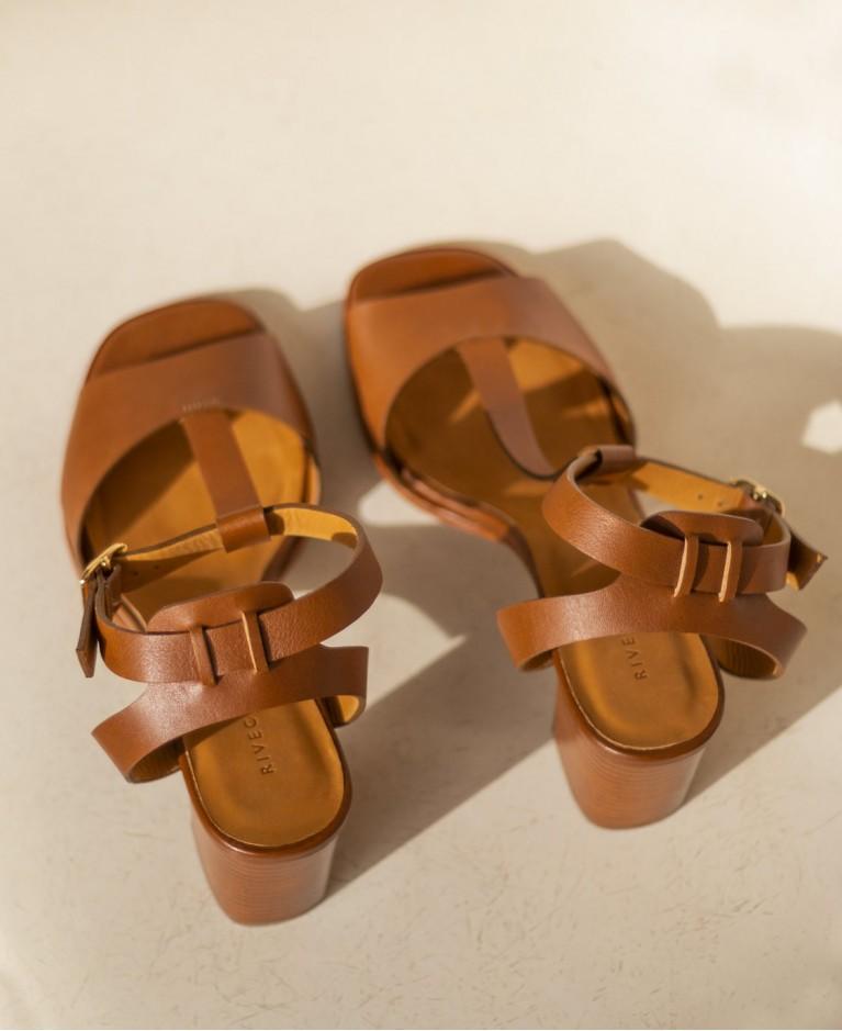 Sandals n°651 Cognac Leather| Rivecour